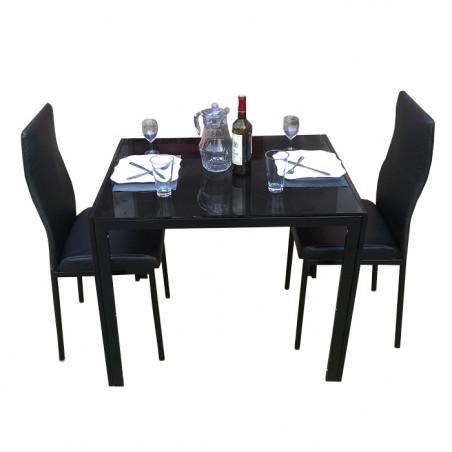 Salle à manger deux places en cuir noir