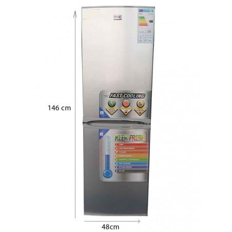 Réfrigérateur  Combiné Oscar – R186S - 186L - Gris