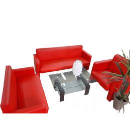 Canapé Sofa en cuir rouge...