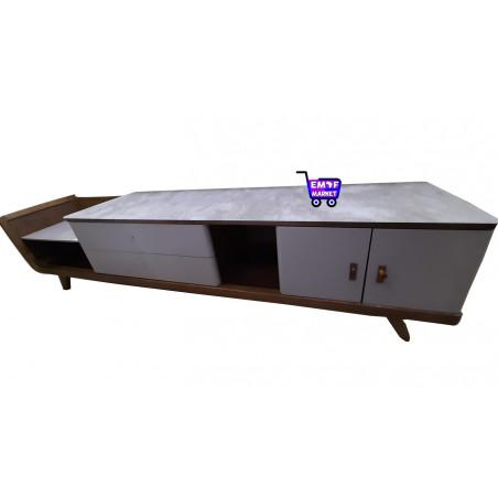 Table tv en bois avec plateau en verre-ES19310