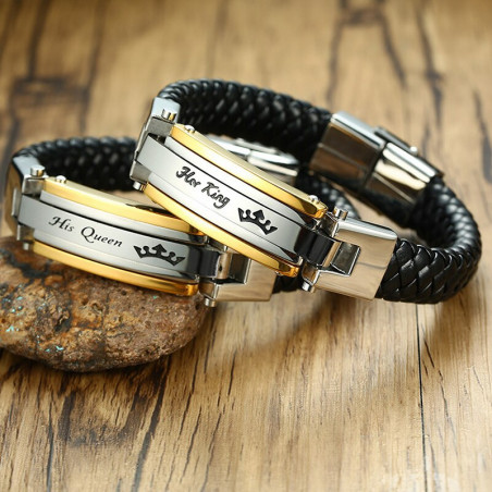 Bracelets amoureux couronne charme