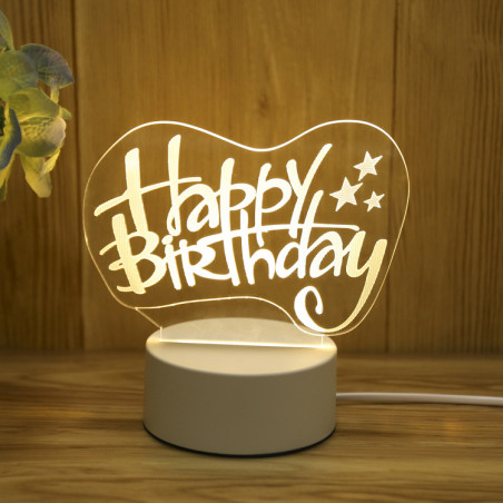 Lampe 3D Illusion Veilleuse 3D(Happy Birthday)