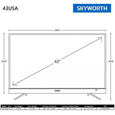 Skyworth  43 pouces 4K UHD  Android TV Smart