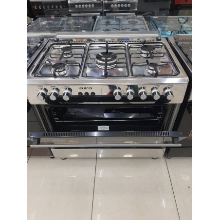 Cuisinière automatique Aifa inox 60x90 5 foyers avec large four garantie 1 an