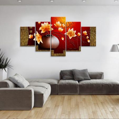 """Tableau mural 5 en 1 """"Vase rose jaune"""" - 5 tableaux donc 1 grand, 2  moyens et 2 petits"""