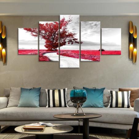 """Tableau mural 5 en 1 """"Arbre rouge sur eau"""" - 5 tableaux donc 1 grand, 2  moyens et 2 petits"""